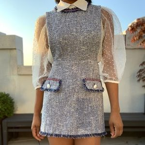 Blue Pinafore Mini Dress